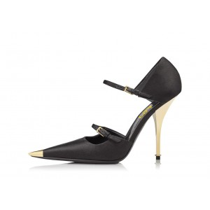 Black Satin Pointy Toe Cut Out Two Straps Stiletto Heels Pumps