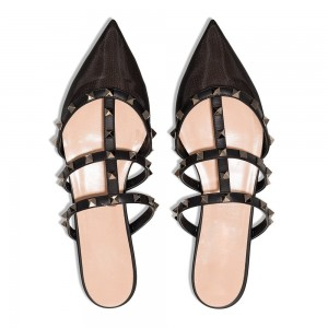 Black Pointy Toe Rivets Flat Mule Sandals