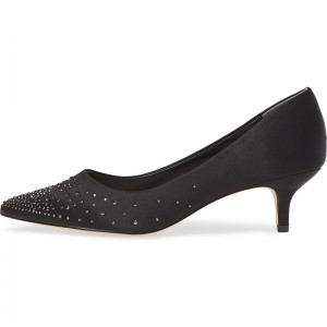 Black Satin Rhinestone Heels Kitten Heel Pointed Toe Pumps