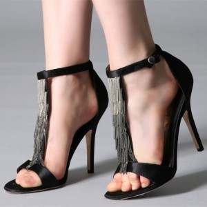 Black Satin Stiletto Heels Metal Fringe T Strap Sandals Evening Shoes