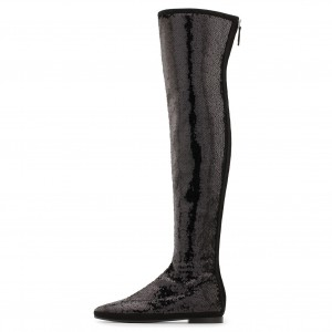 Black Sequined Comfortable Flat Long Boots Zip Over-the-Knee Boots