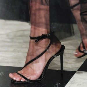 Black Sexy Stiletto Heels Slingback Evening Shoes Ankle Strap Sandals