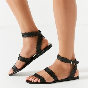 Black Slingback Cross Comfortable Flats Hollow out Gladiator Sandals