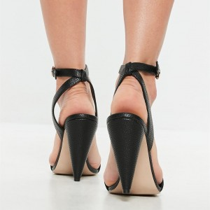 Black Slingback Heels Ankle Strap Sandals Open Toe Cone Heels Sandals