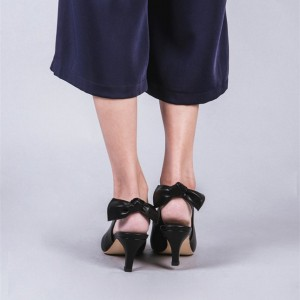 Black Slingback Heels Pointy Toe Cone Heel Pumps with Bow
