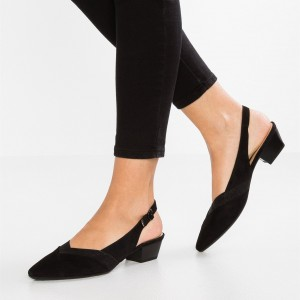 Black Slingback Shoes Suede Chunky Heels Office Shoes