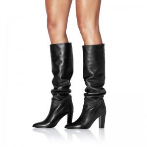 Black Slouch Boots Chunky Heel Calf Length Boots