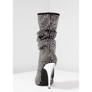 Black Slouch Boots Rhinestone Pointy Toe Stiletto Mid Calf Boots