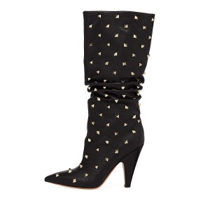 Black Slouch Boots Studs Pointy Toe Kitten Heel Boots