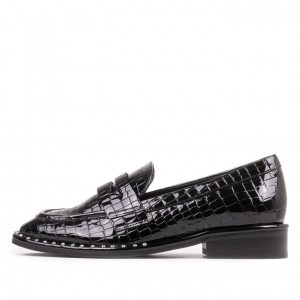Black Lizardstripe Square Toe Low Heel Penny Loafers for Women
