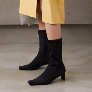 Black Square Toe Fashion Boots Chunky Heel Mid Calf Boots