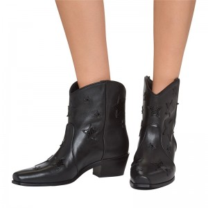 Black Stars Block Heel Ankle Booties