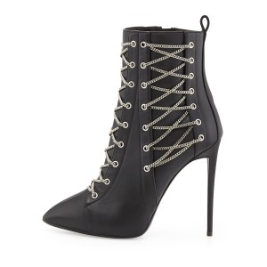 Black Stiletto Boots Fashion Ankle Booties with Metal Chains