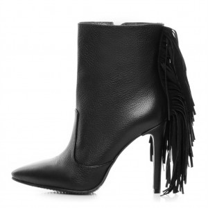 Black Stiletto Boots Litchi Pattern Fringe Ankle Boots for Women