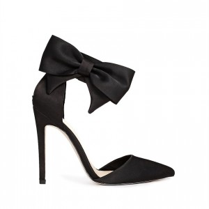 Women's Black Sexy Ankle Strap Sandals Bow Pointed Toe Stiletto Heels