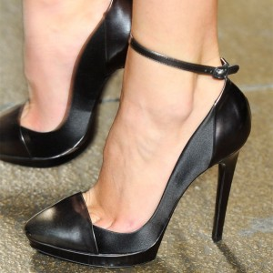 Black Stiletto Heels Almond Toe Platform Ankle Strap Pumps