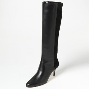Black Stiletto Heels Fashion Boots Pointed Toe Knee-high Boots by FSJ
