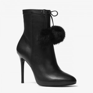 Black Stiletto Heels Fur Ball Pointy Toe Ankle Booties