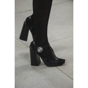 Black Stone Pattern Vegan Leather Block Heels Rhinestone T Strap Pumps
