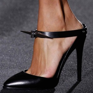 Black Strap Pointy Toe Stiletto Heel Mules