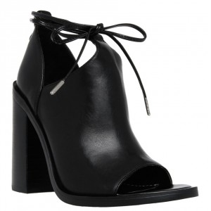 Women's Black Chunky Peep Toe Ankle Strap Booties