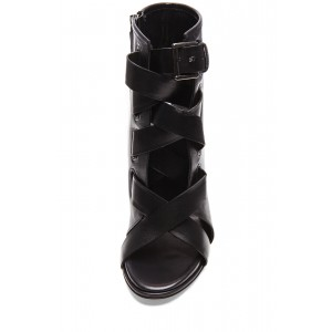 Black Strappy Buckle Peep Toe Booties Stiletto Heel Ankle Boots