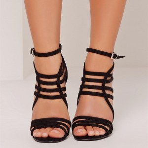 Black Strappy Gladiator Heels Stiletto Heel Sandals