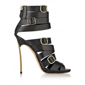 Black Buckle Stiletto Heels Strappy Sandals for Women
