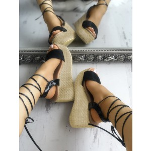 Black Strappy Wedges Sandals Open Toe Platform Sandals for Women