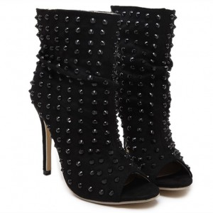 Black Studded Slouch Boots Peep Toe Stiletto Heels with Rivets