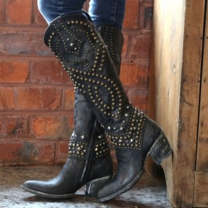 Black Studs Cowgirl Boots Block Heel Knee High Boots