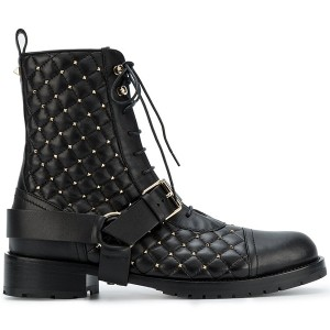 Black Studs Flat Lace up Boots Round Toe Buckle Ankle Boots