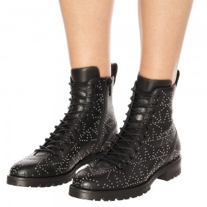 Black Studs Lace up Combat Boots