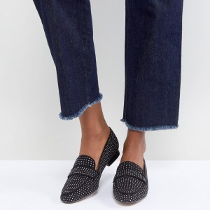 Black Studs Loafers for Women Suede Round Toe Flats