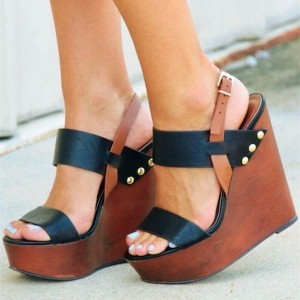 Black Studs Platform Brown Wedge Heels Sandals