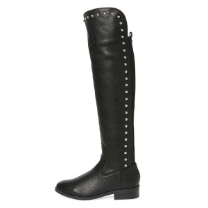 Black Studs Round Toe Flat Long Boots Knee High Boots