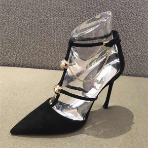 Black Chain Stiletto Heel T Strap Pumps Sexy Shoes
