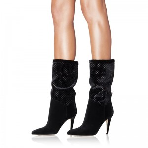 Black Studs Slouch Boots Almond Toe Cone Heel Mid Calf Boots
