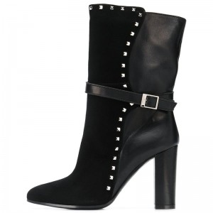 Black Studs Suede Boots Chunky Heel Almond Toe Mid Calf Boots