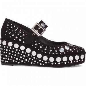 Black Studs Suede Wedge Heels Round Toe Mary Jane Pumps