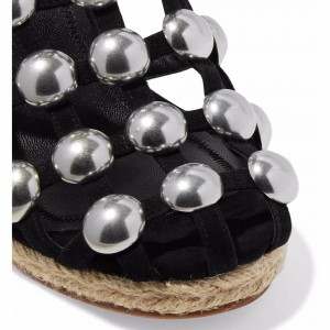Black Studs Wedge Sandals Slingback Platform Sandals