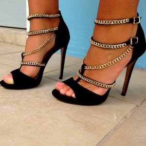 Black Suede Chains Stiletto Heels Peep Toe Buckles Ankle Strap Sandals