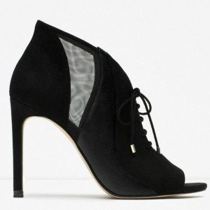 Black Suede Stilettos Boots Peep Toe Lace Up Ankle Booties