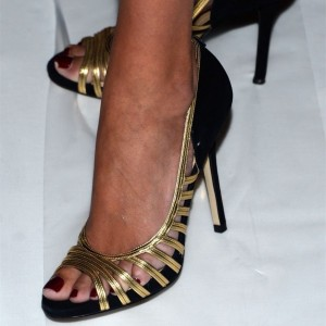 Black Suede and gold Strap Peep Toe Heels Pumps