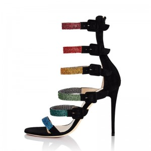 Black Suede and Multicolor Rhinestone Straps Gladiator Heels Sandals