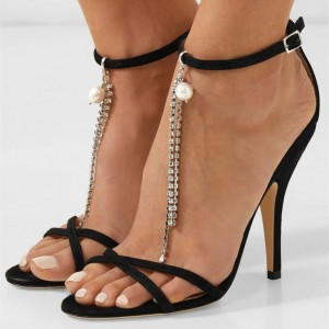 Black Suede Ankle Strap Sandals with Rhinestone and Pearl