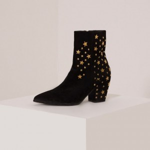 Black Suede Block Heel Boots Pointed Toe Stars Ankle Boots