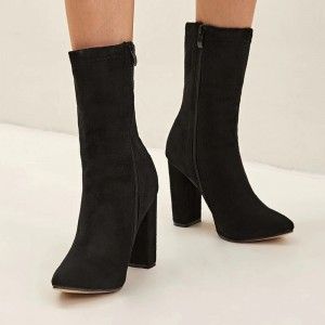 Black Suede Boots Chunky Heel Ankle Boots for Women