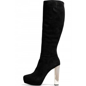 Black Suede Boots Platform Chunky Heel Knee High Boots