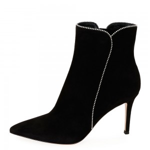 Black Suede Boots Rhinestone Stiletto Heel Ankle Boots